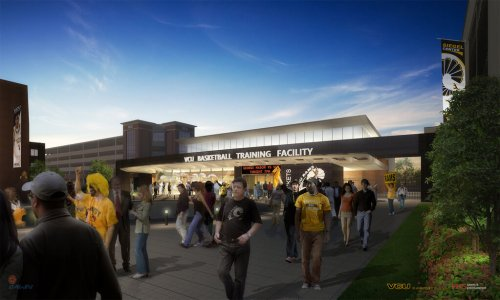The front of the VCU Basketball Complex facing outward towards Broad Street.