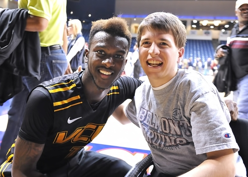 VCU freshman JeQuan Lewis with friend Earl Denton Dec. 1 at Belmont.