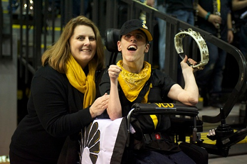 "Anna Bing with son Ellis earlier this season. Ellis Bingham joined the VCU Athletic Band ""The Peppas"" this season."