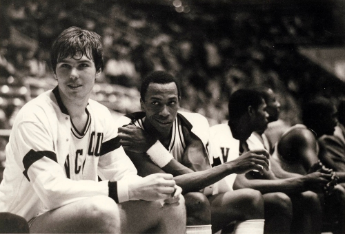 Two of the stars of VCU's 1984-85 Sun Belt Championship team Mike Schlegel (left) and Calvin Duncan (right) enjoy a light moment.
